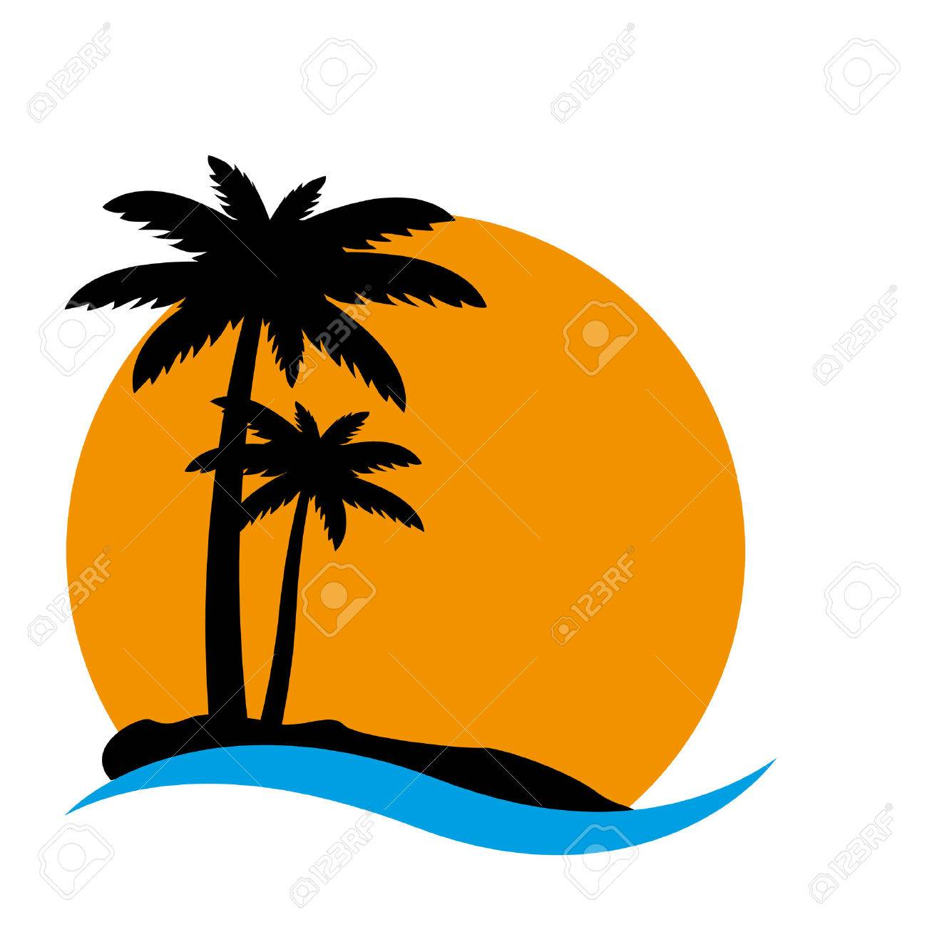 sunset and palm trees on island vector illustration royalty free rh 123rf com island vector map island victoria hislop