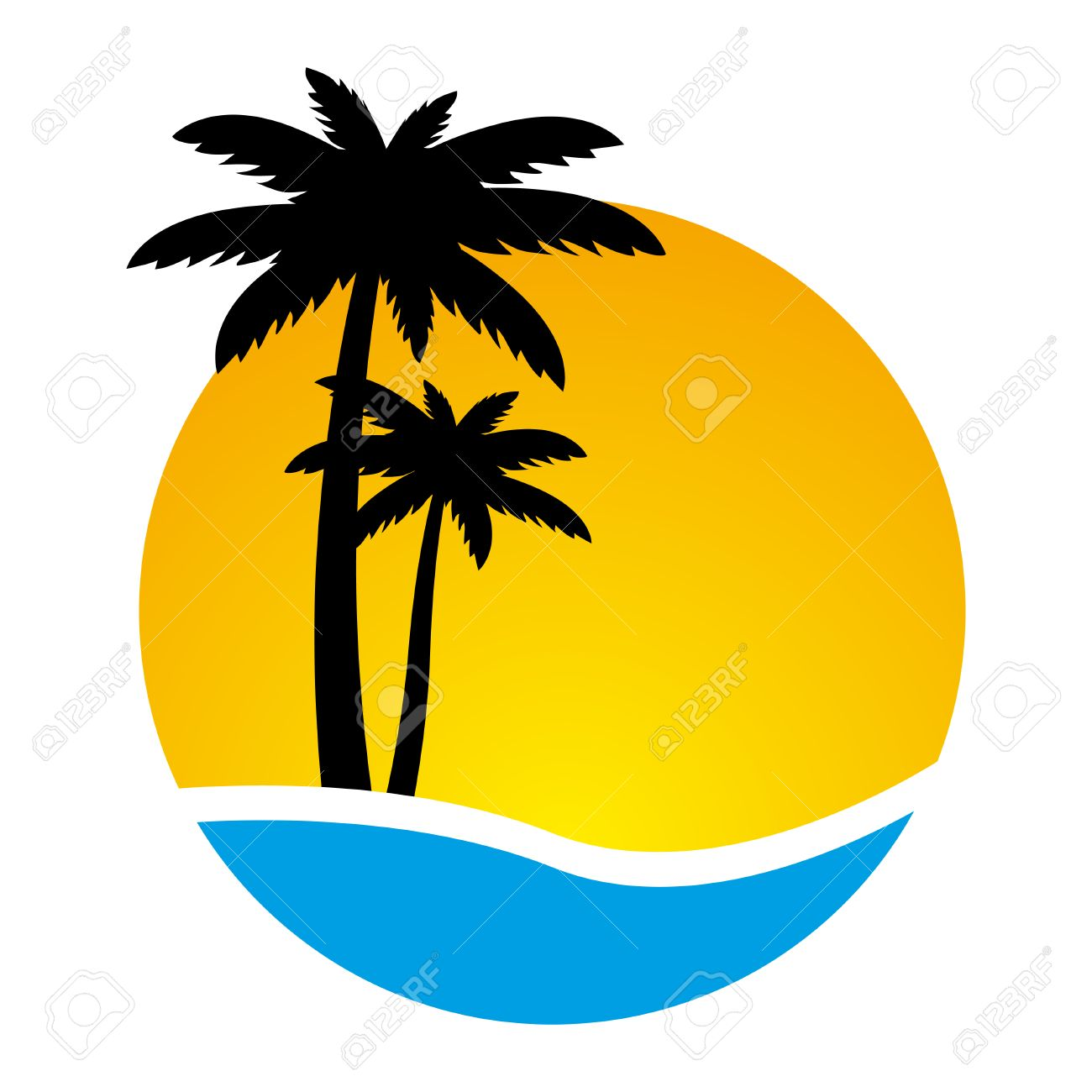sunset and palm trees on island vector illustration royalty free rh 123rf com free vector sunrise free vector sun rays
