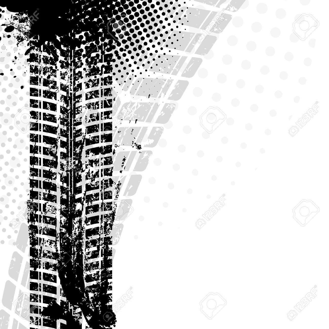 Background with grunge black tire track , vector illustration - 37046321