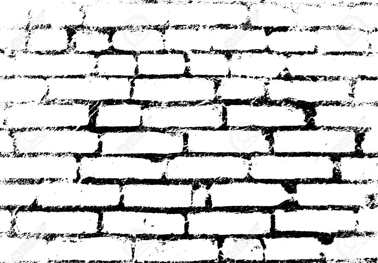 Old vintage brick wall. Background, pattern black and white. Vector illustration - 37046333