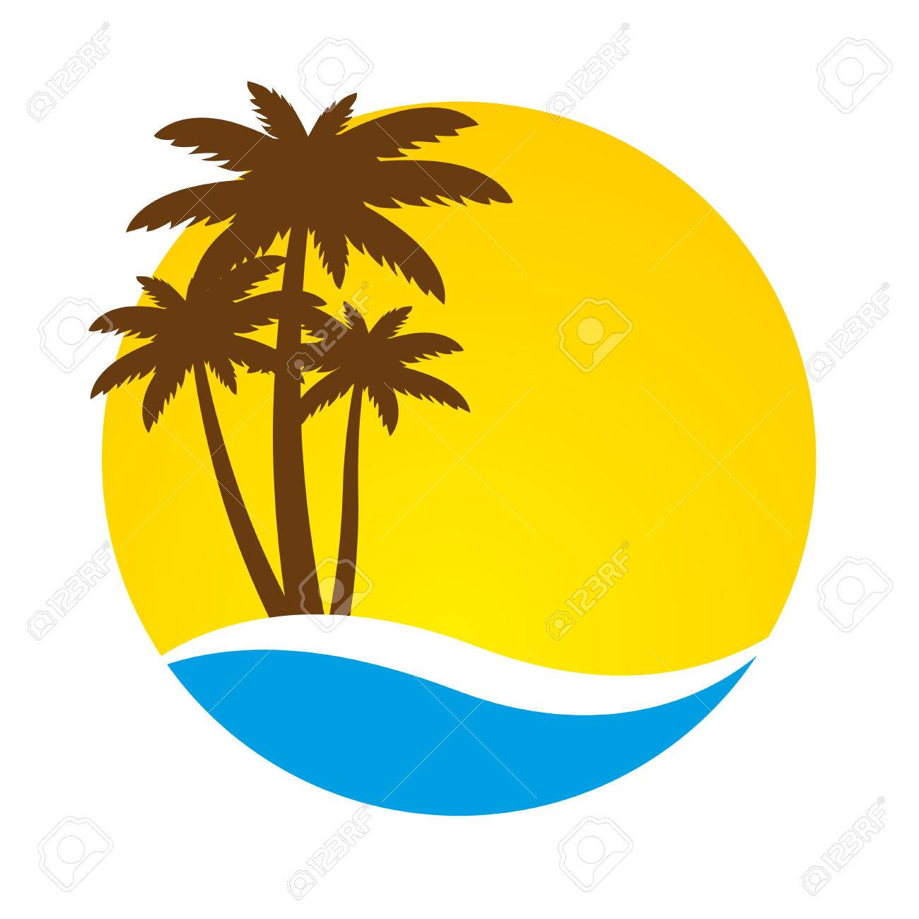 sunset and palm trees on island vector illustration royalty free rh 123rf com iceland vector island victoria
