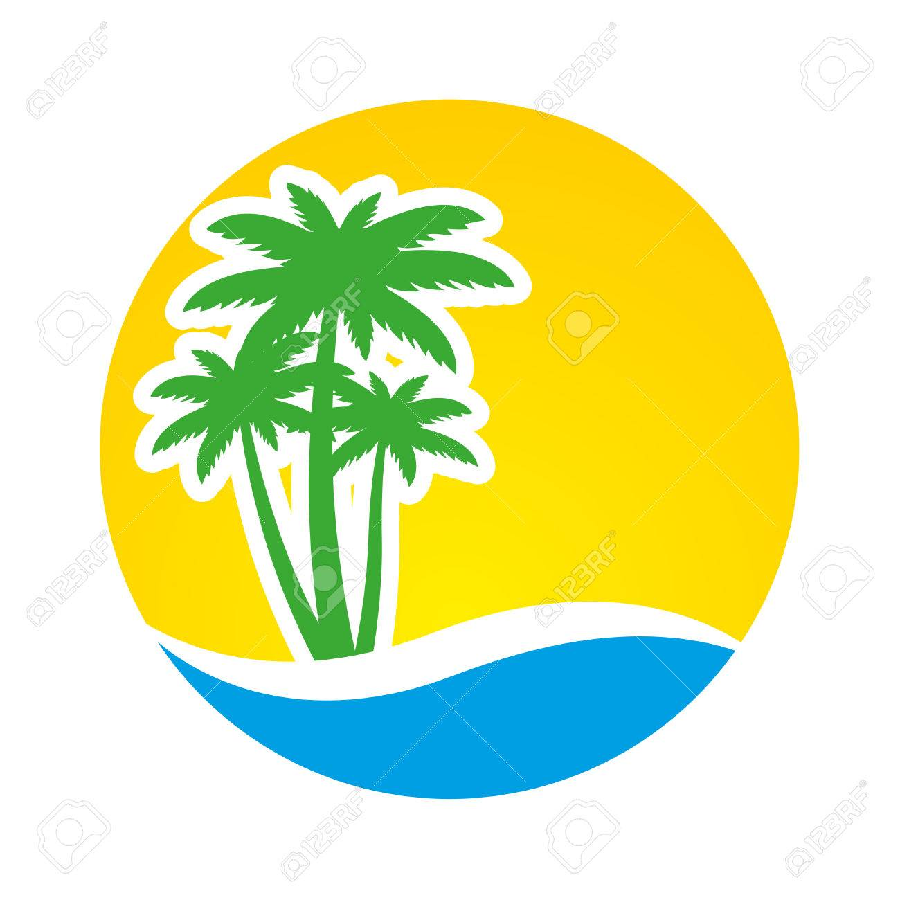 sunset and palm trees on island vector illustration royalty free rh 123rf com free vector sunrise free vector sunflowers