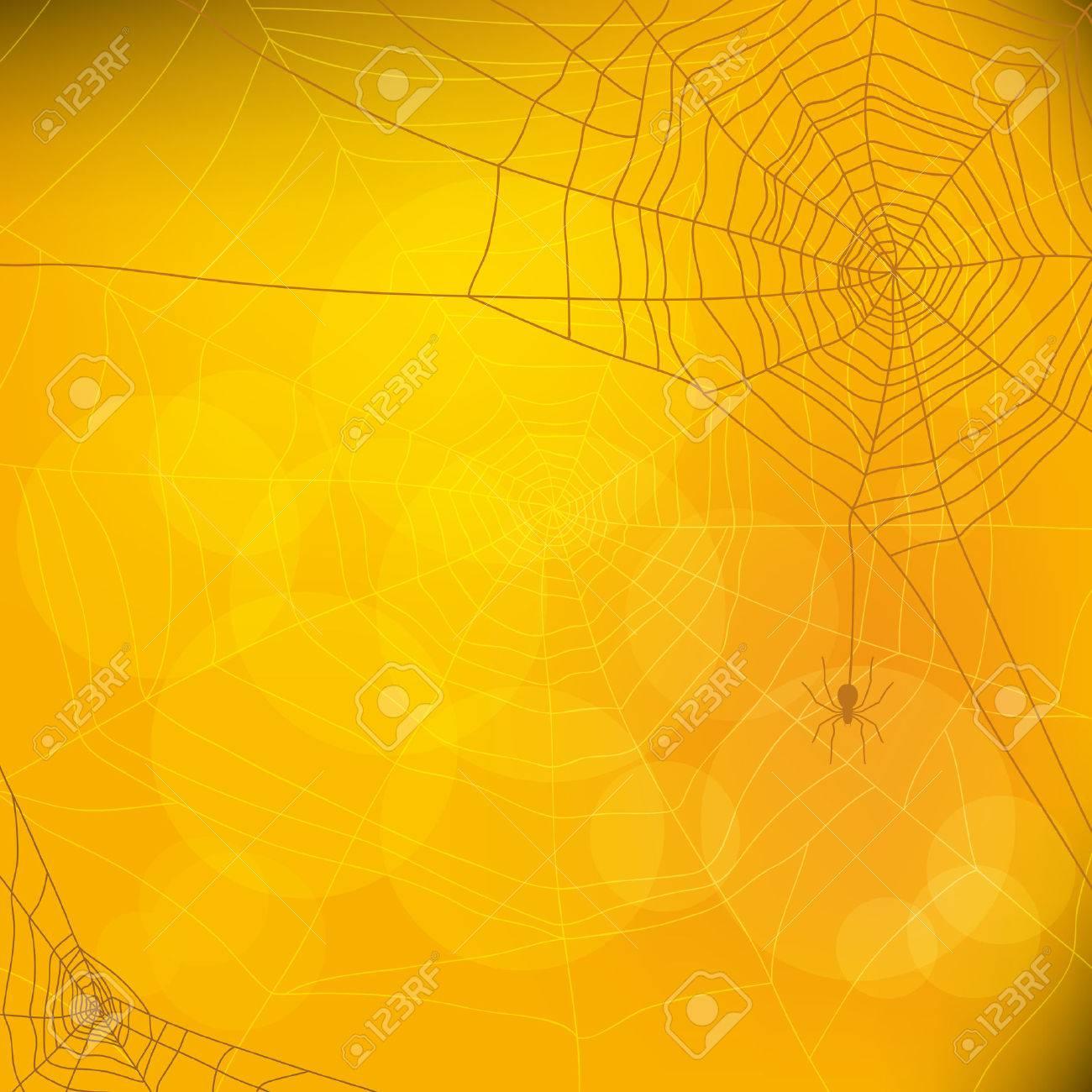 Halloween autumn background with spider web, vector illustration - 45001733