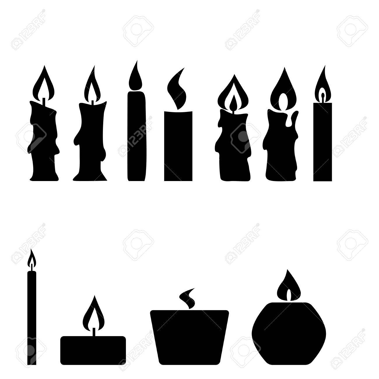 Set of candles isolated on white background, vector illustration - 46177815