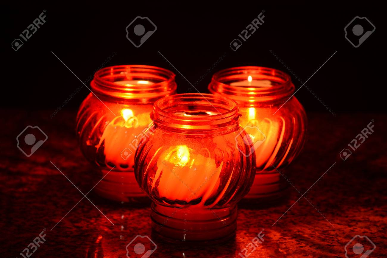 Candles Burning At a Cemetery During All Saints Day. Shallow depth of field. - 46591577