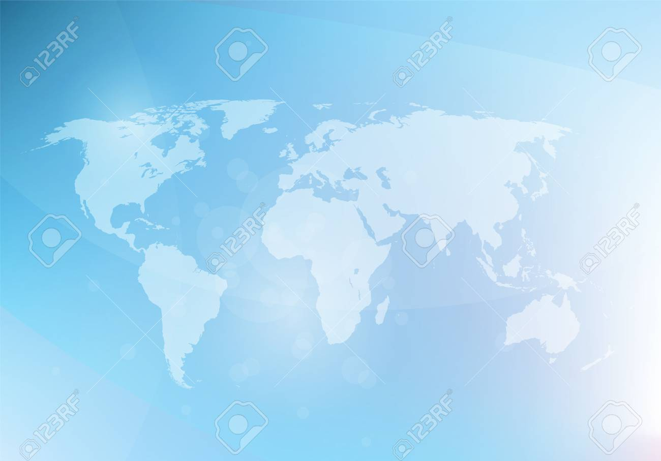 Abstract blue background with world map, vector illustration - 50244895