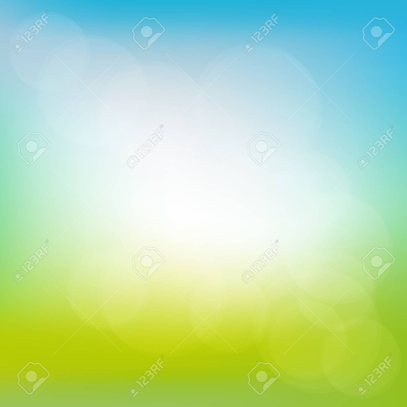 Abstract spring or summer sunny background with blue sky and green meadow, illustration - 53563942
