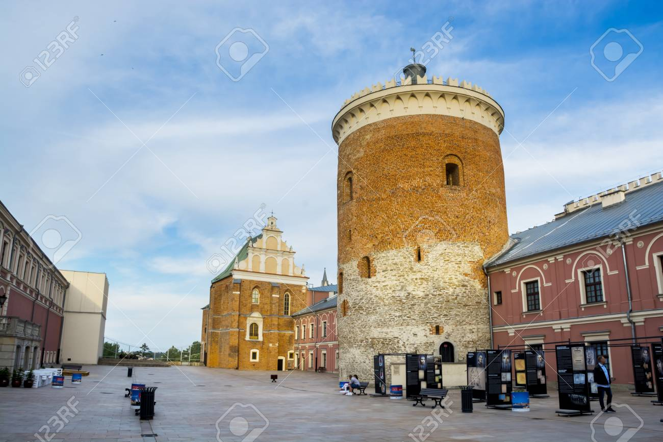 LUBLIN, POLAND - JUNE 02, 2016: Courtyard of medieval royal castle in Lublin with donzon on 02 June 2016 Lublin, Poland - 59473378