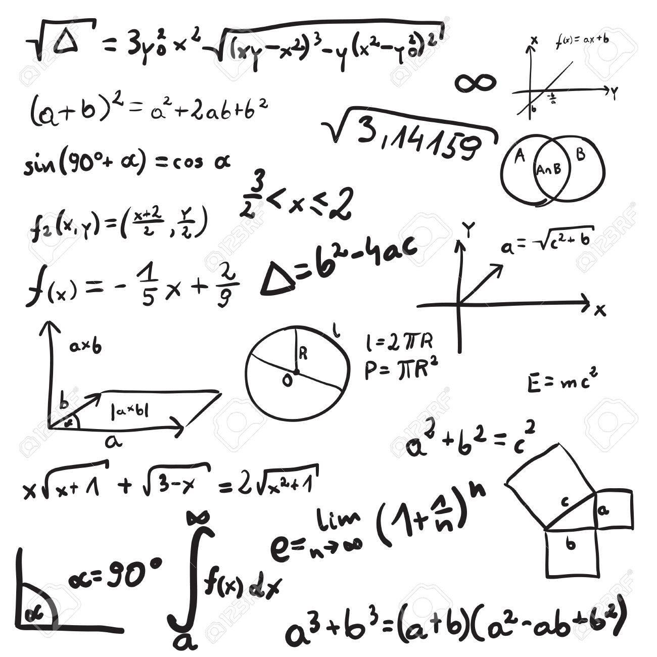 illustration of mathematic doodle. Isolated on white background - 62196773