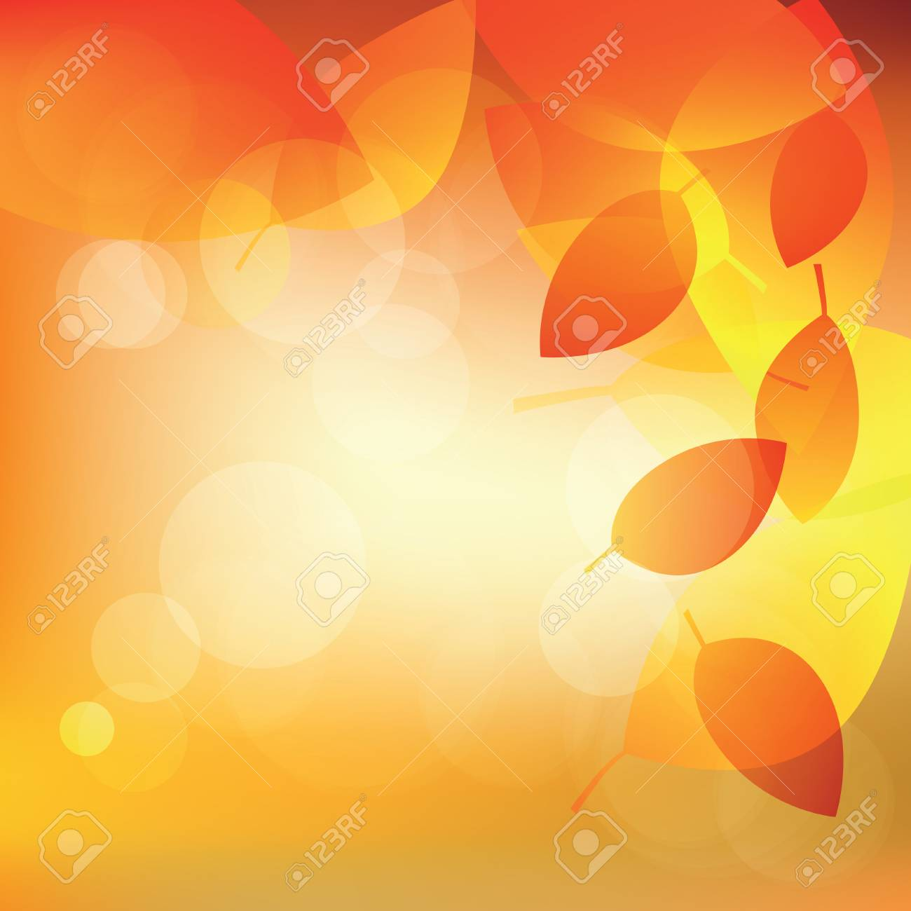 Abstract autumn sunny background with lights and leaves illustration - 62197336