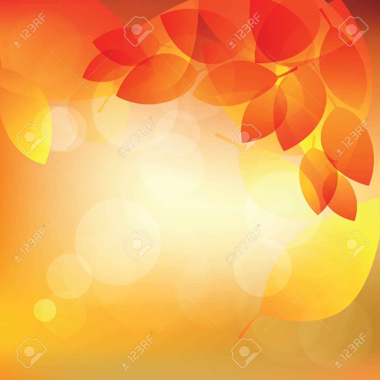 Abstract autumn sunny background with lights and leaves illustration - 62197337