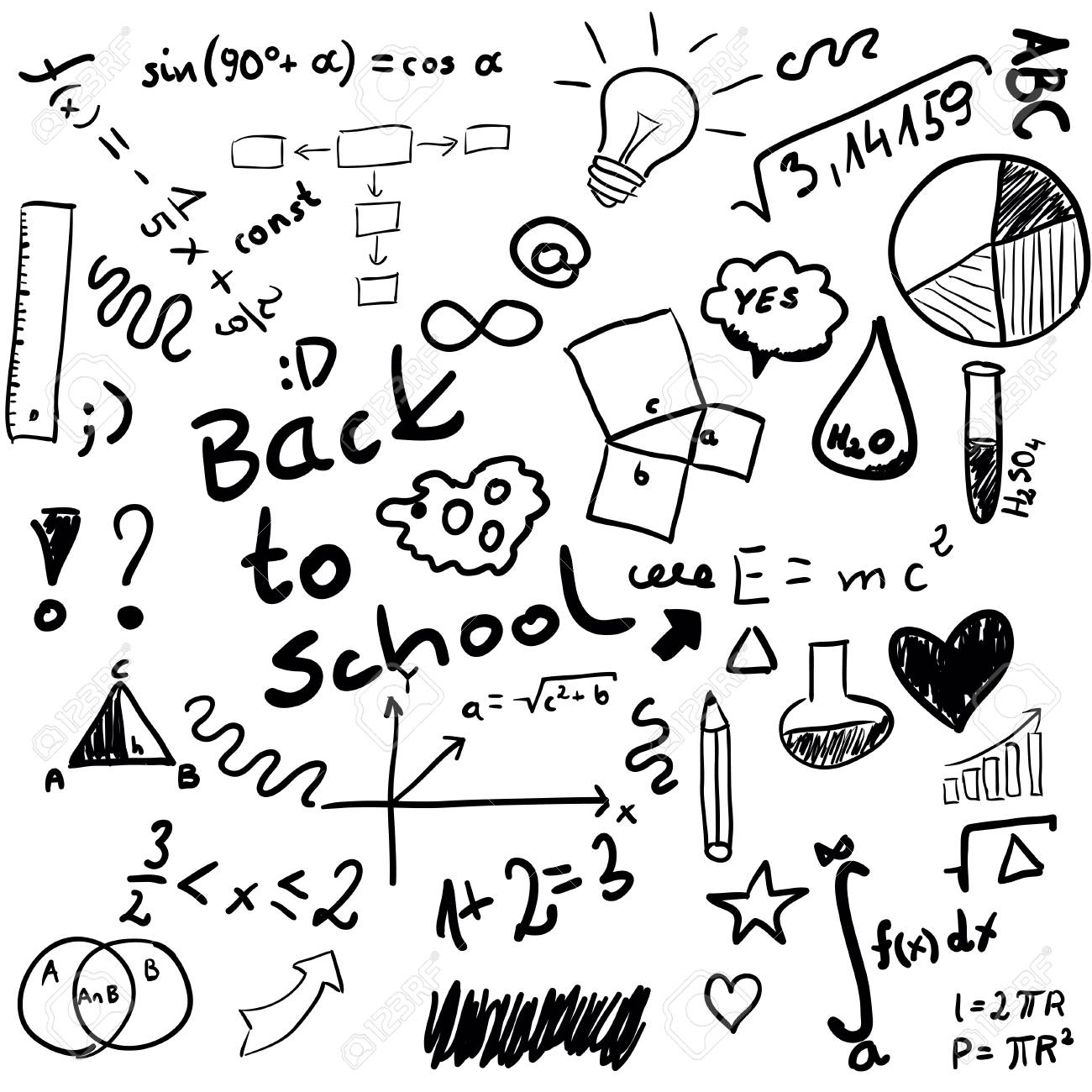 Back to school - set of school doodle illustrations isolated on white - 62197467