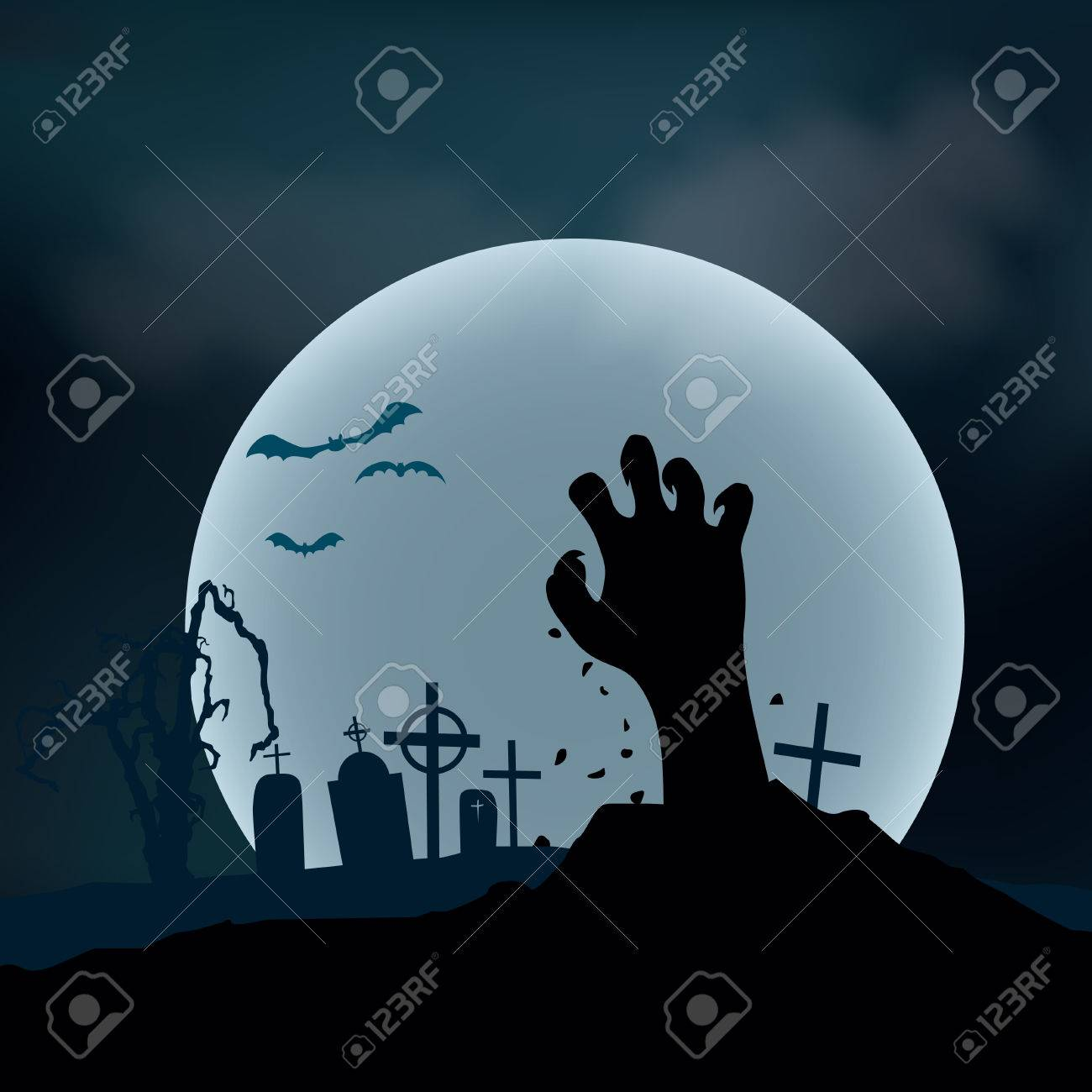 Halloween Background. Zombie hand rising out from the ground illustration - 62197421