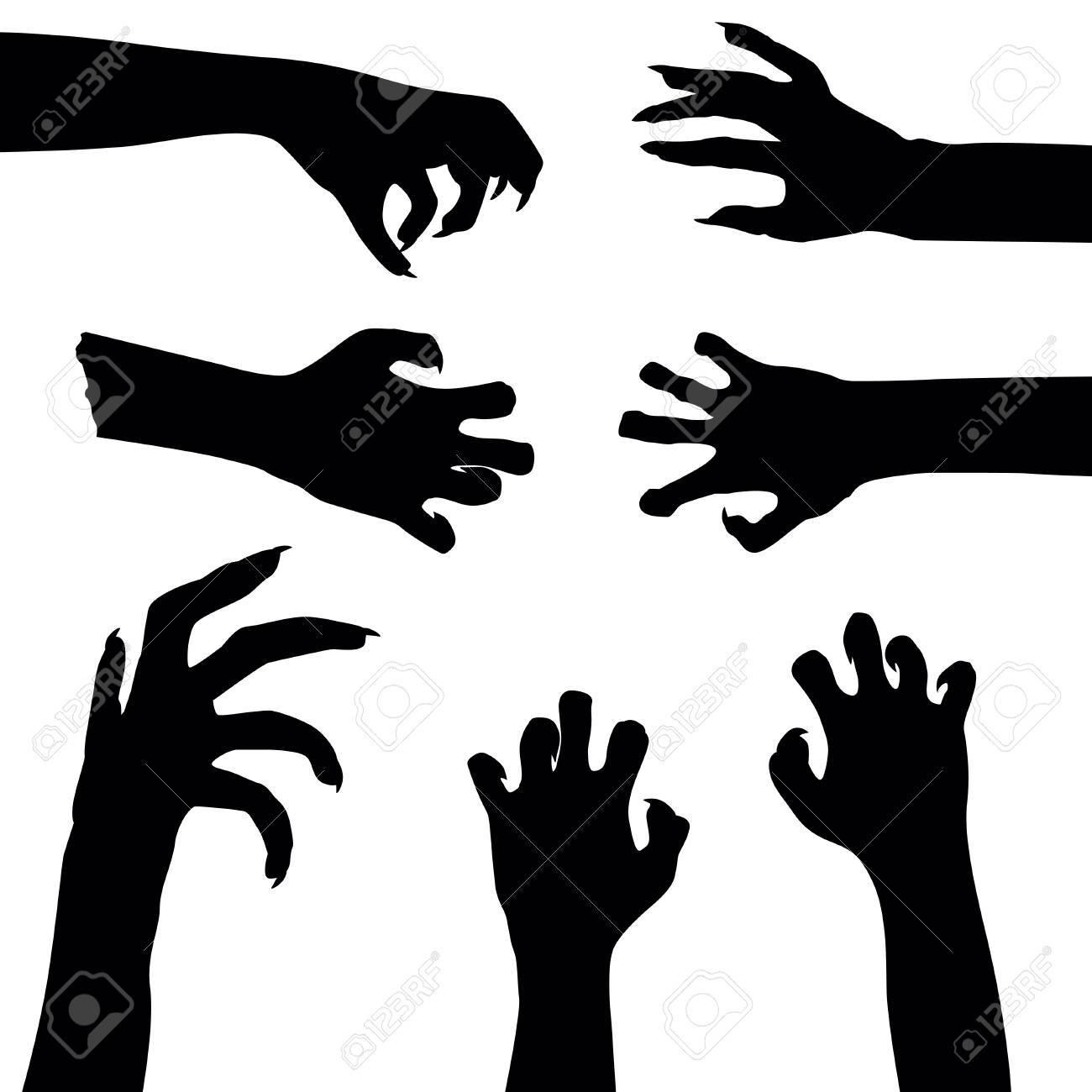 Set of zombie hands isolated on white background, illustration - 62197422