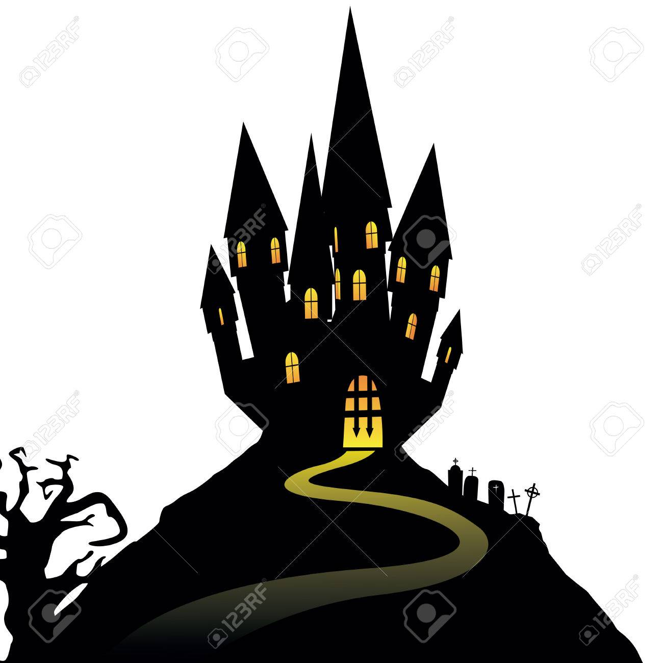 Halloween castle on hill isolated on white background, illustration - 62197428