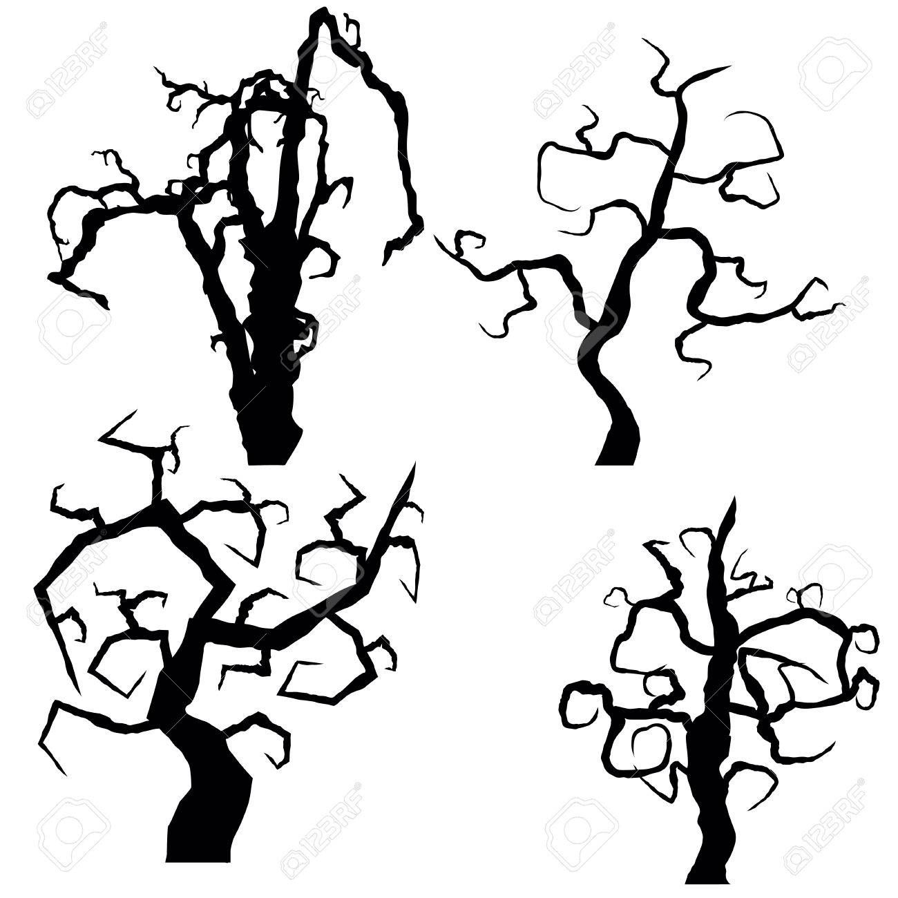 Set of halloween trees isolated on white background, vector illustration - 64464835