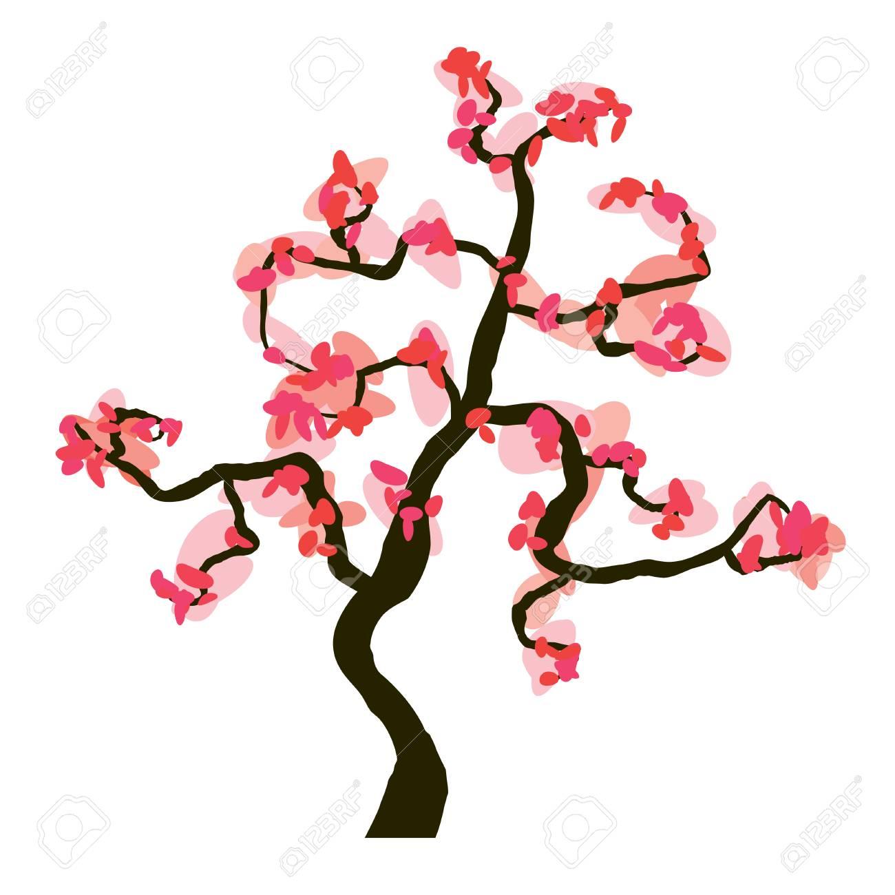 Sakura blossom isolated on white background, vector illustration - 64464838