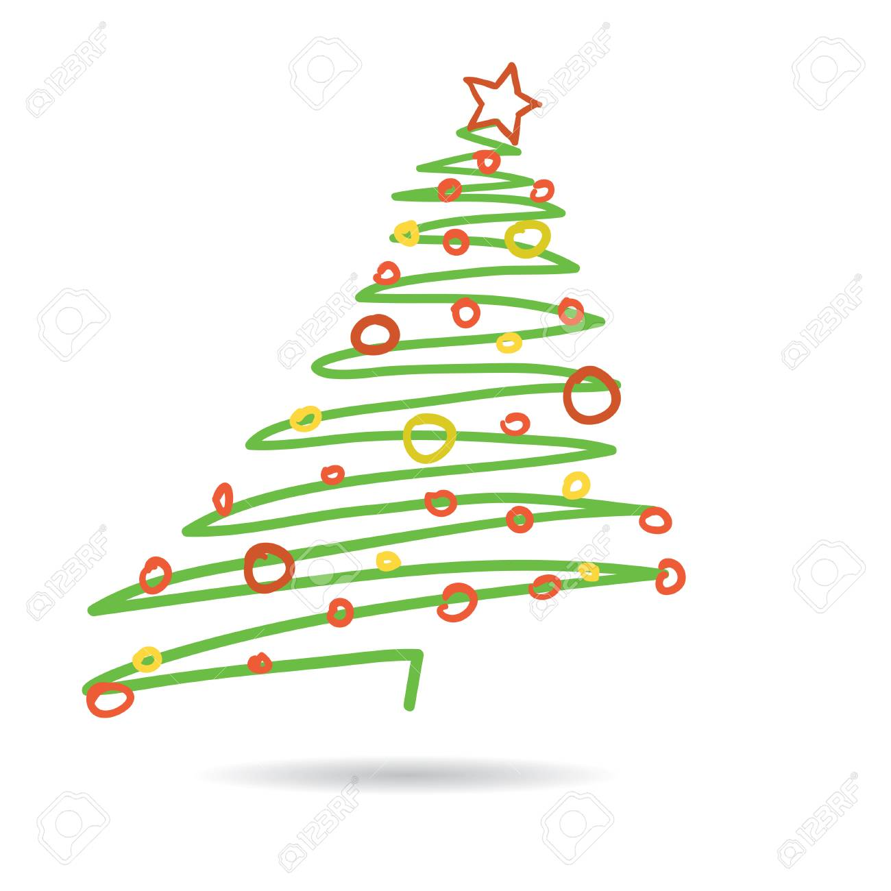 Hand drawn christmas tree isolated on white background, vector illustration - 68098590
