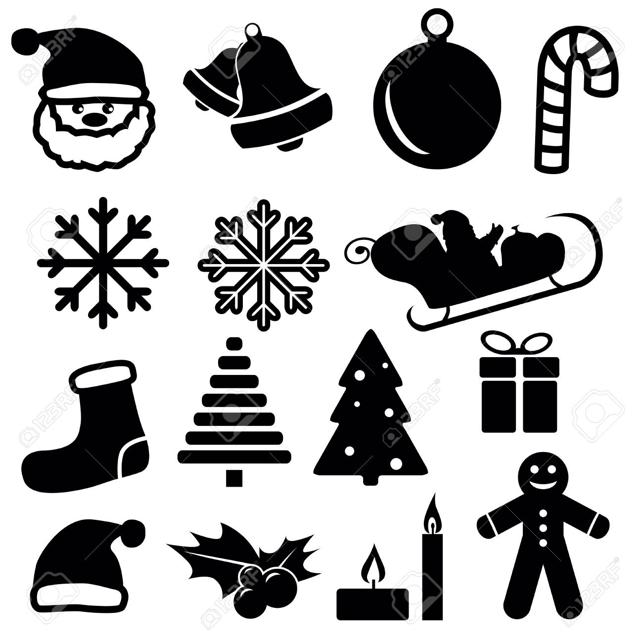 Set of christmas and winter icons isolated on white background. Vector illustration. - 68098591