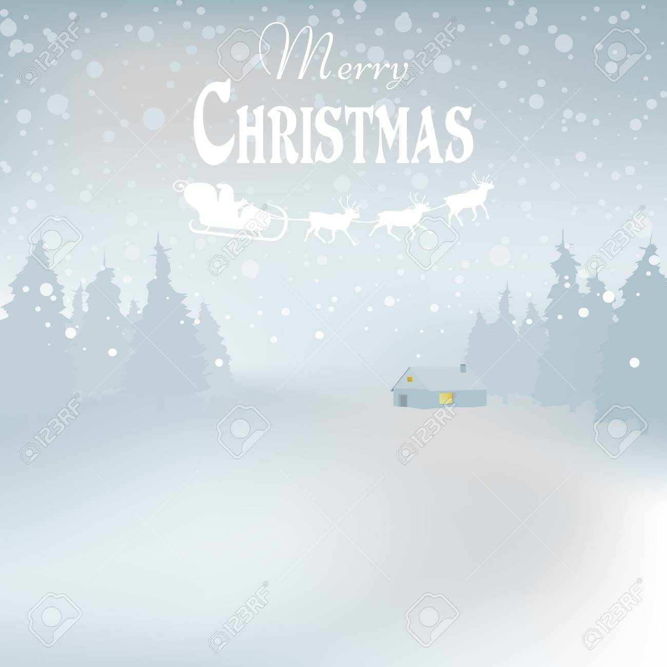 Winder snowy landscape with trees, vector illustration. Background. - 68098596
