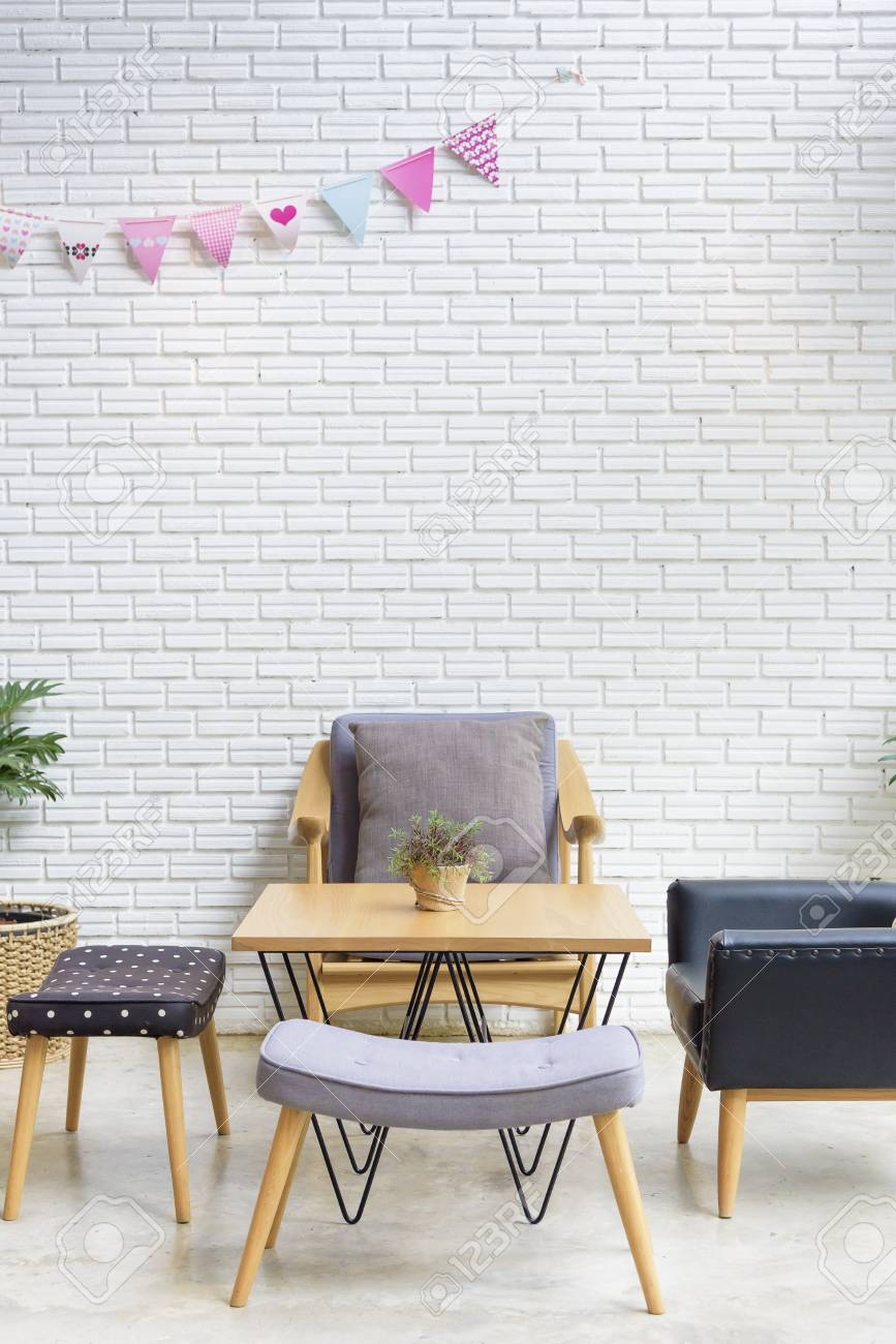 Cozy Sofa Corner In Industrial And Scandinavian Style. Sofa Is ...