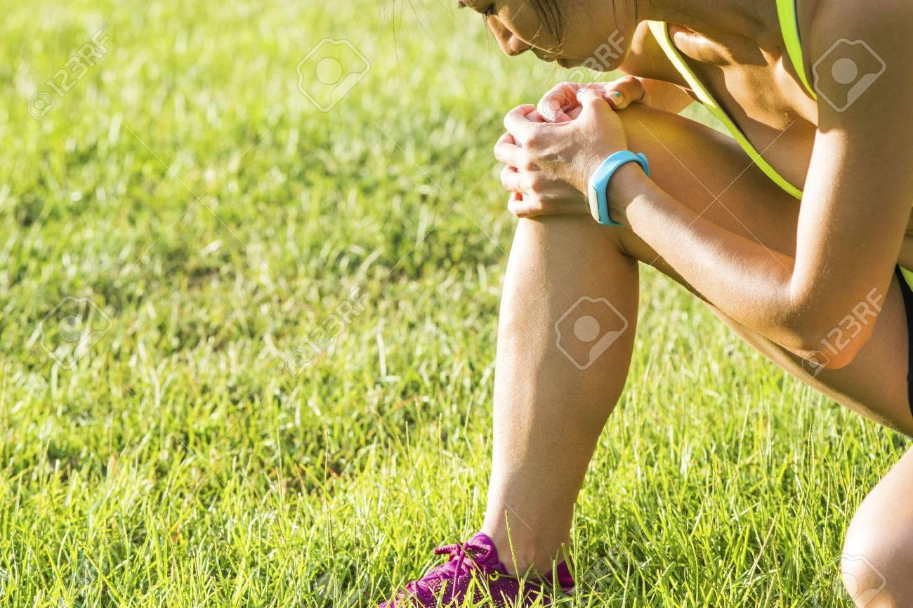 Running sport injury - twisted broken ankle  Female athlete runner