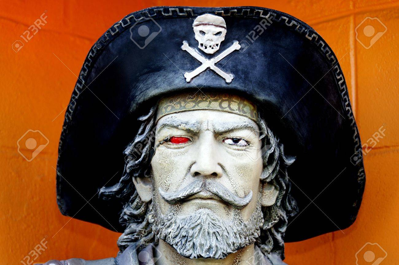 head of a pirate statue with a black hat and skull and crossbones