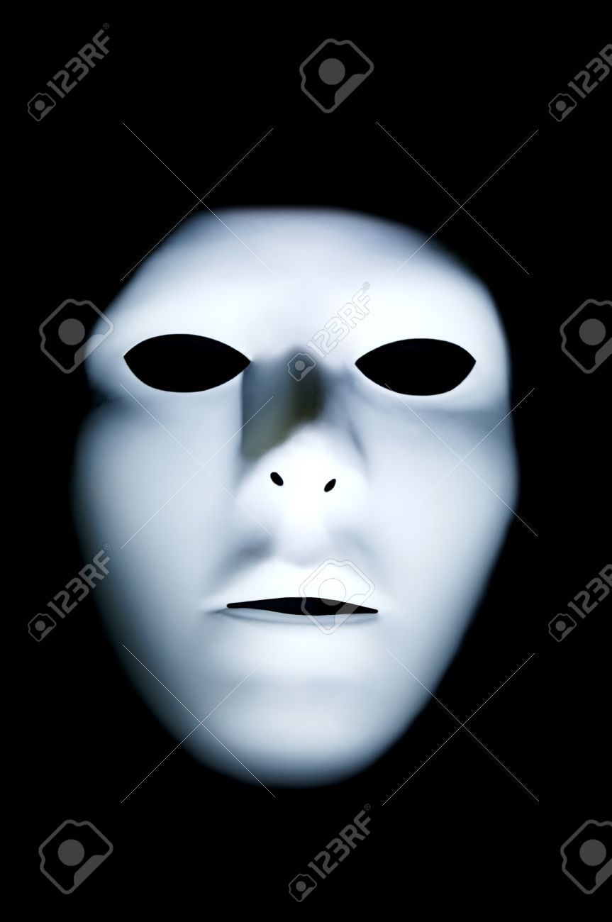 Spooky white ghostly face with big black eyes in the dark stock photo 18879660