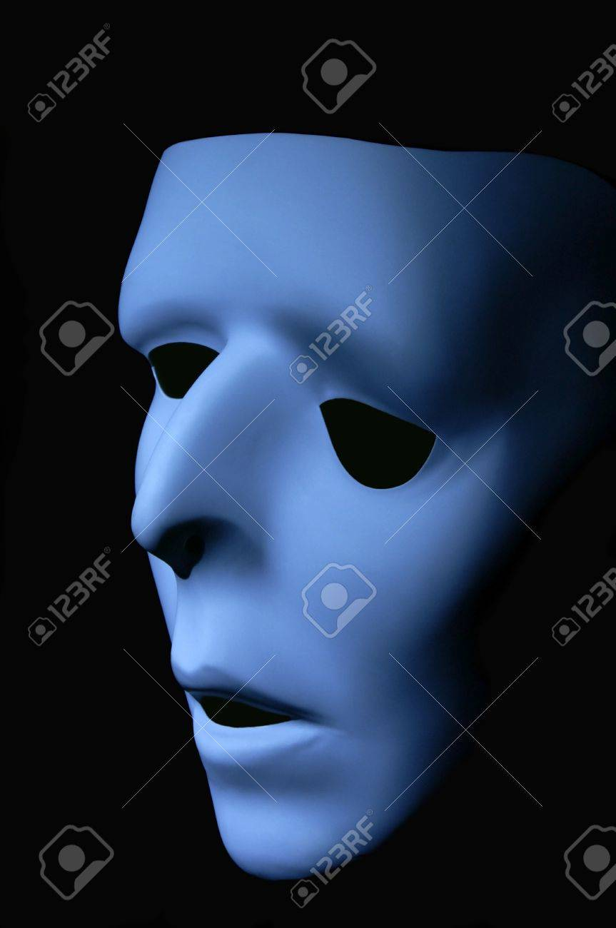Blue ghostly face that has been distorted to appear sad. Stock Photo - 18819306