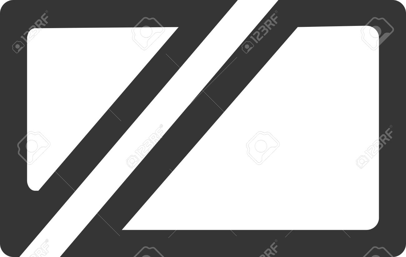 cut rectangle logo blank business card outline line rounded