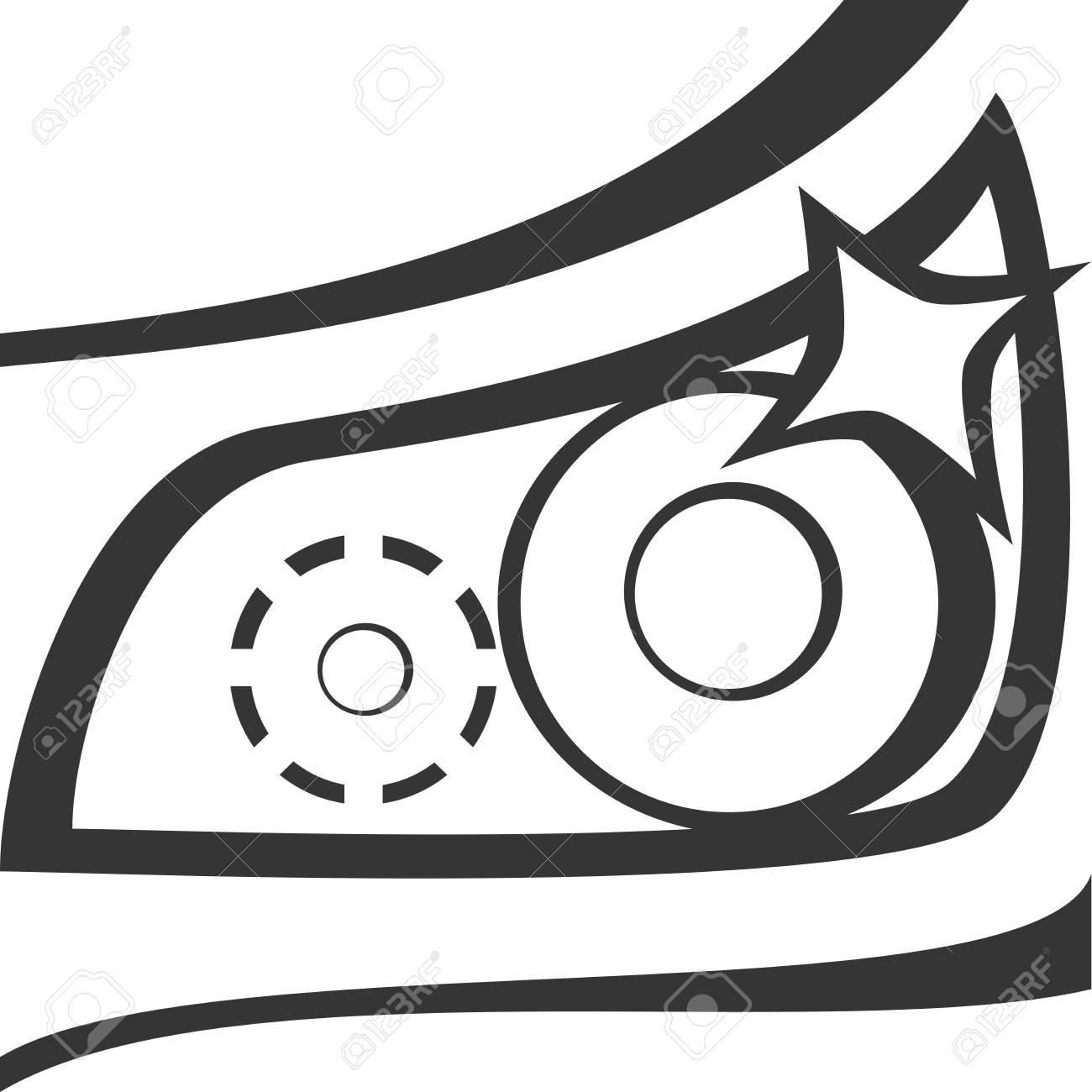 Car Headlight Dazzle Shine Closeup Of Light And Hood With