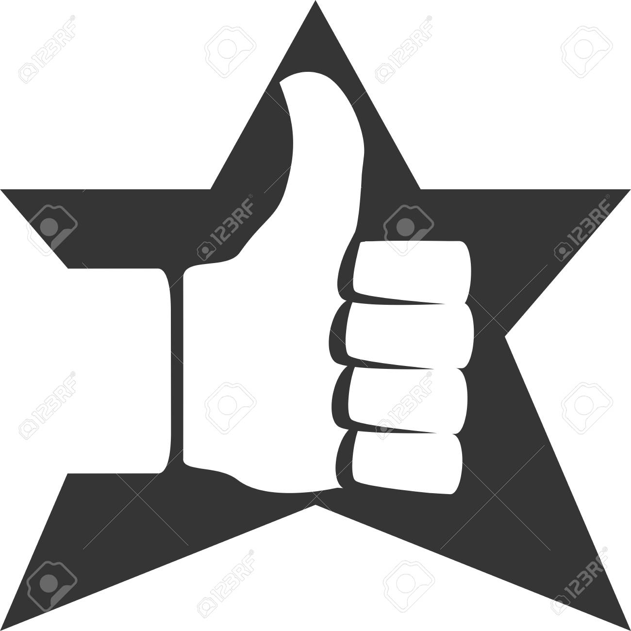 Positive Thumbs Up Star Approve Creative Vector Icon Shape Service