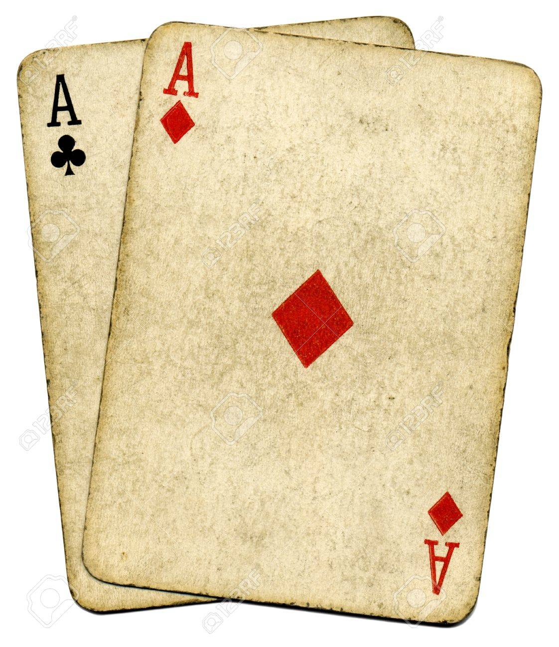 Old vintage dirty aces cards, isolated over white. Stock Photo - 3453506
