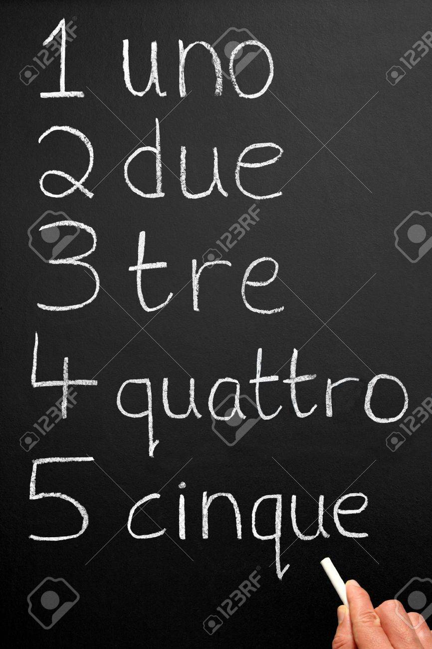 A teacher writing numbers one to five in the Italian language. Stock Photo - 3682745