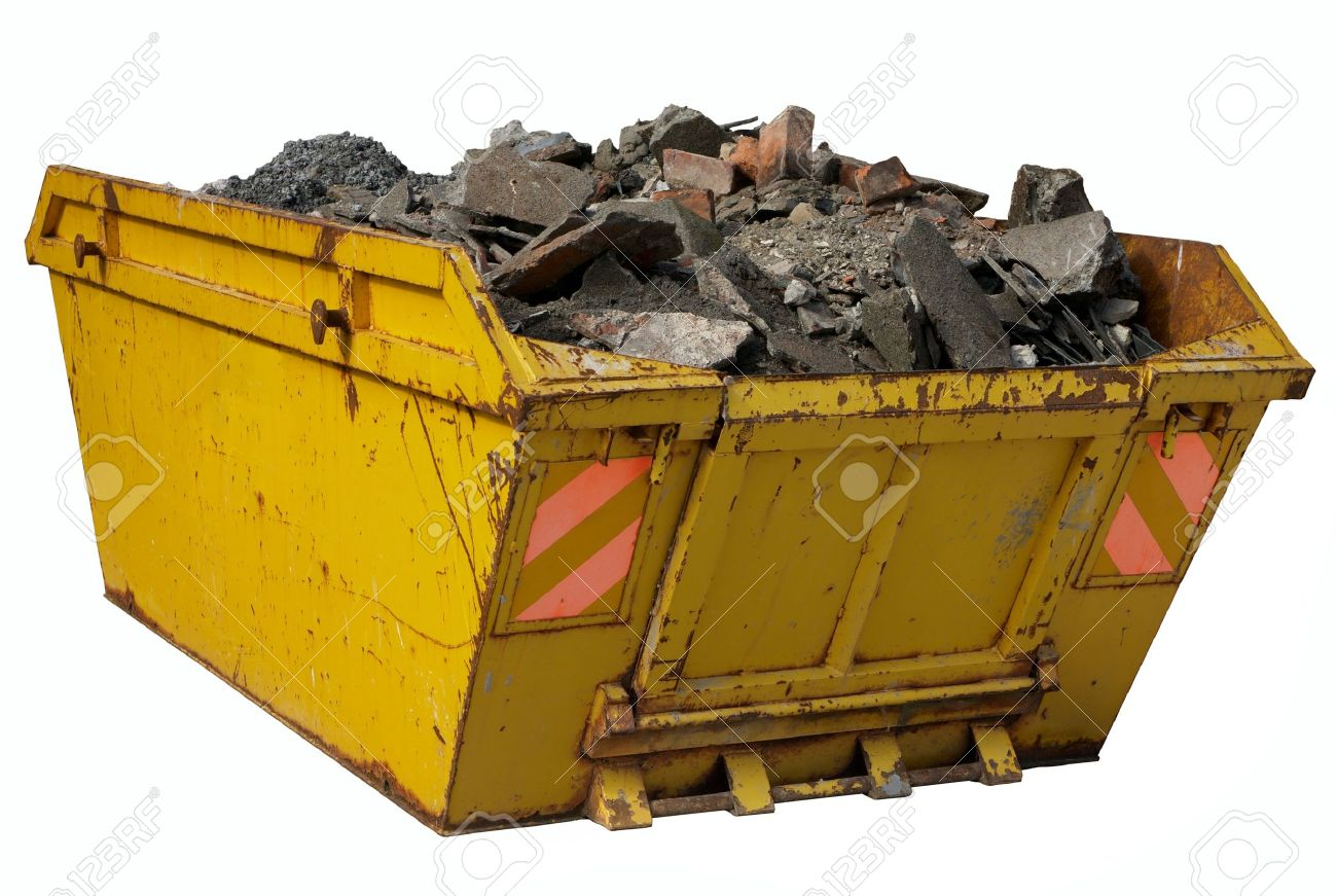 A skip full of rubble isolated over white. Stock Photo - 3871108