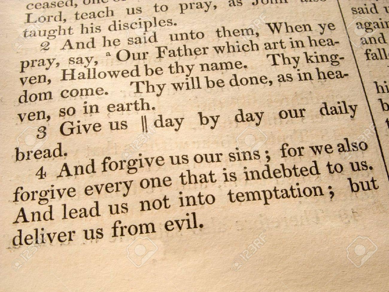 the lord u0027s prayer luke 11 2 4 from an 1847 bible stock photo