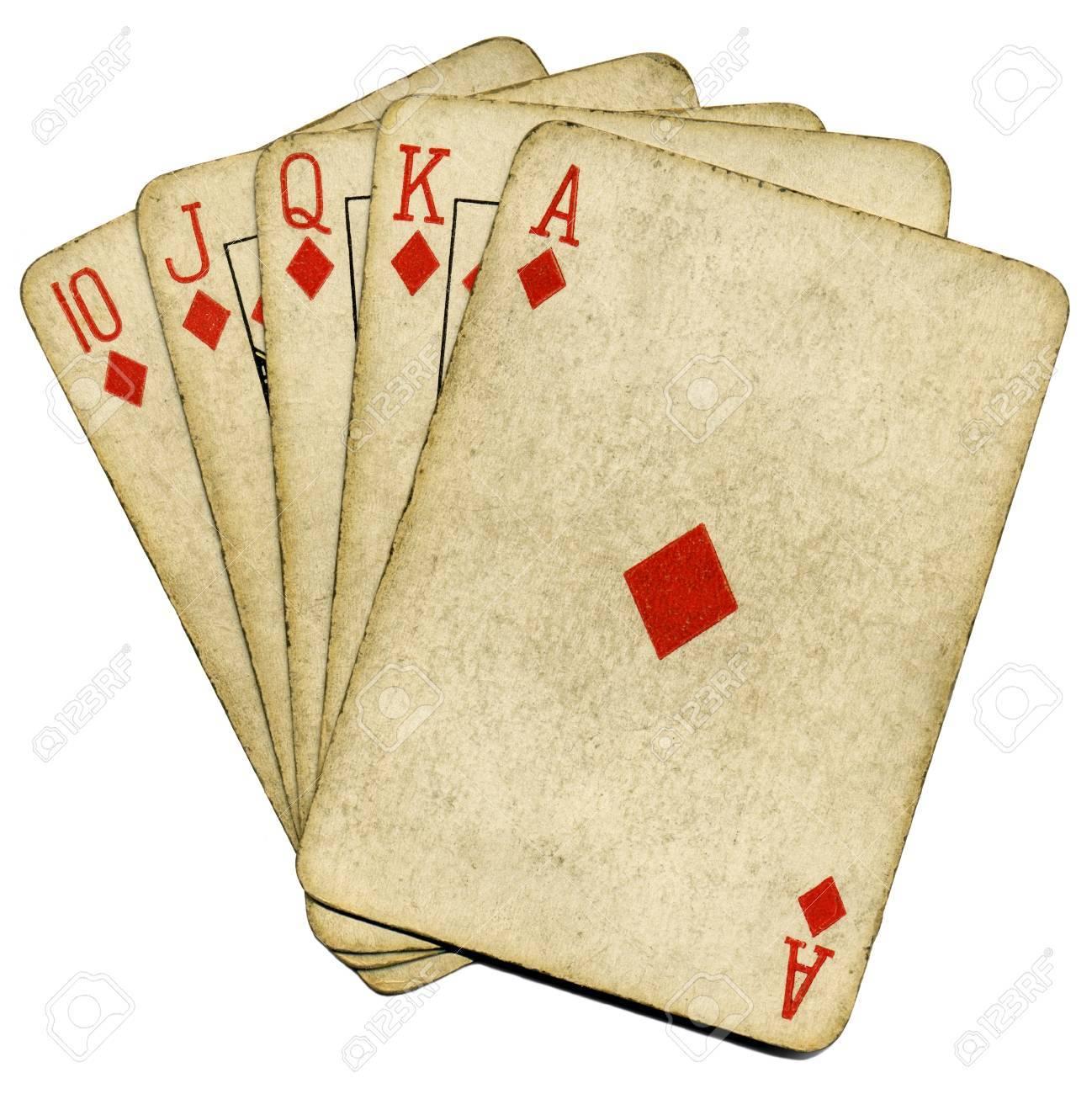 Royal flush old vintage poker cards isolated over white. Stock Photo - 4153200