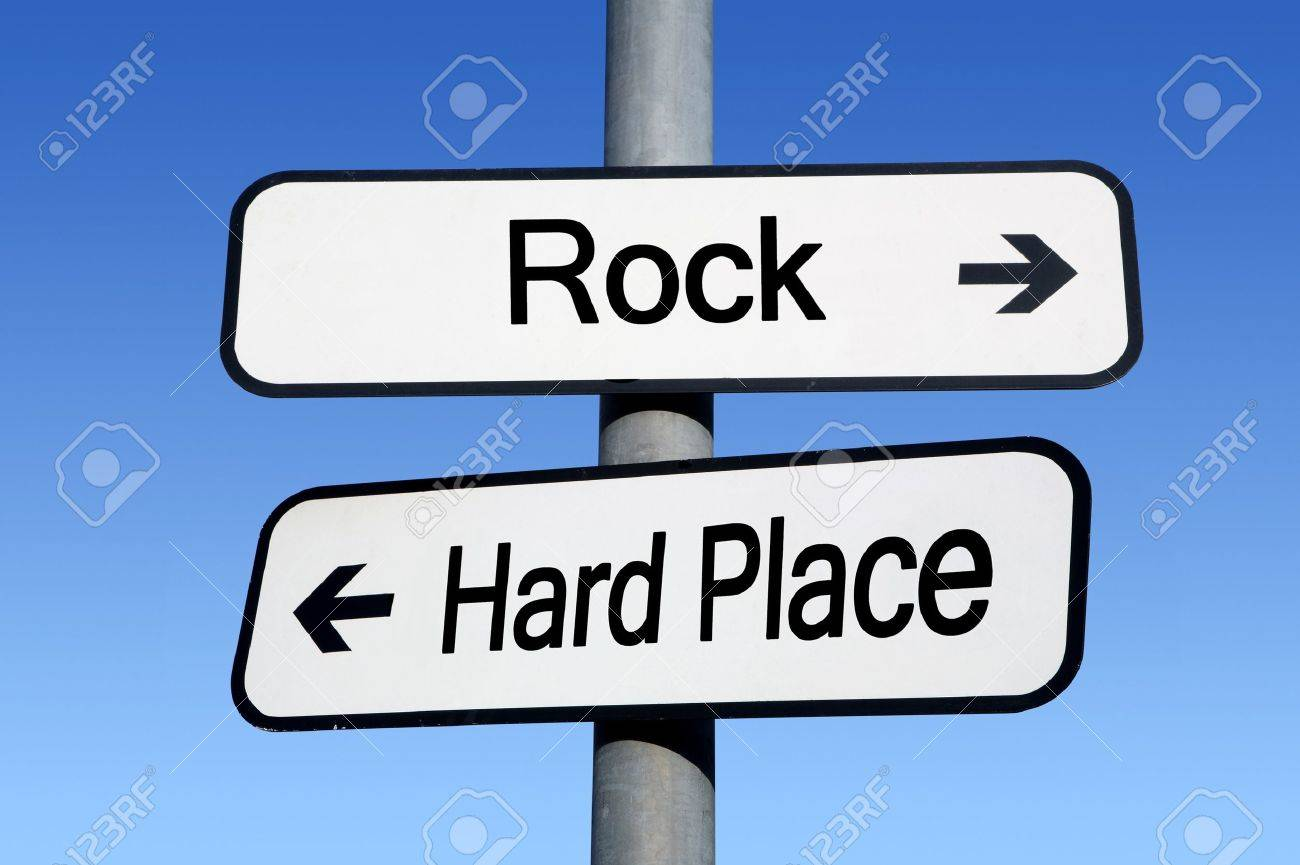 Between A Rock And A Hard Place. Stock Photo, Picture And Royalty ...