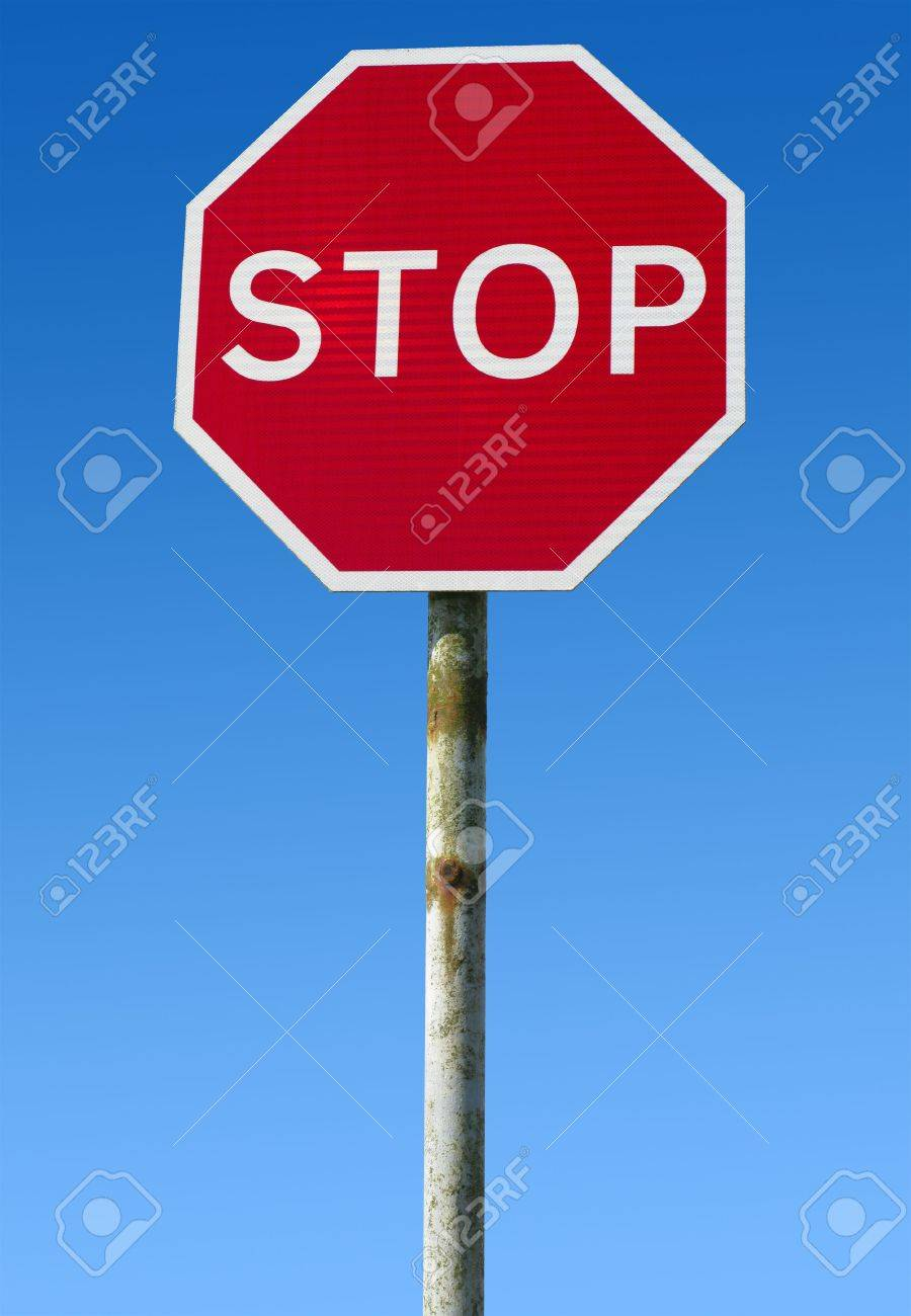 Old British red stop road sign. Stock Photo - 4611195