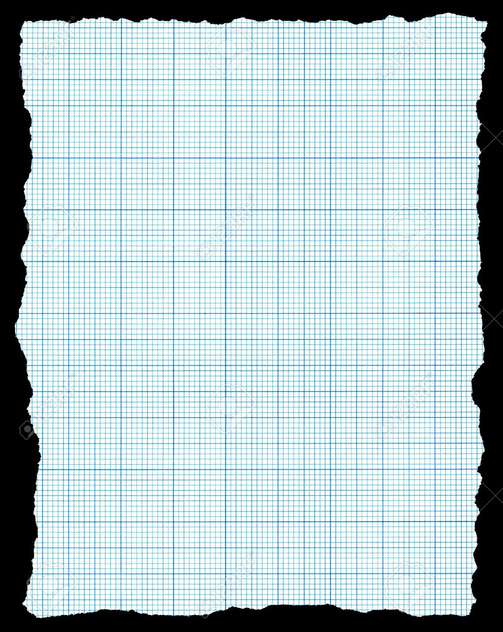 Torn blue graph paper isolated on a black background. Stock Photo - 7625876