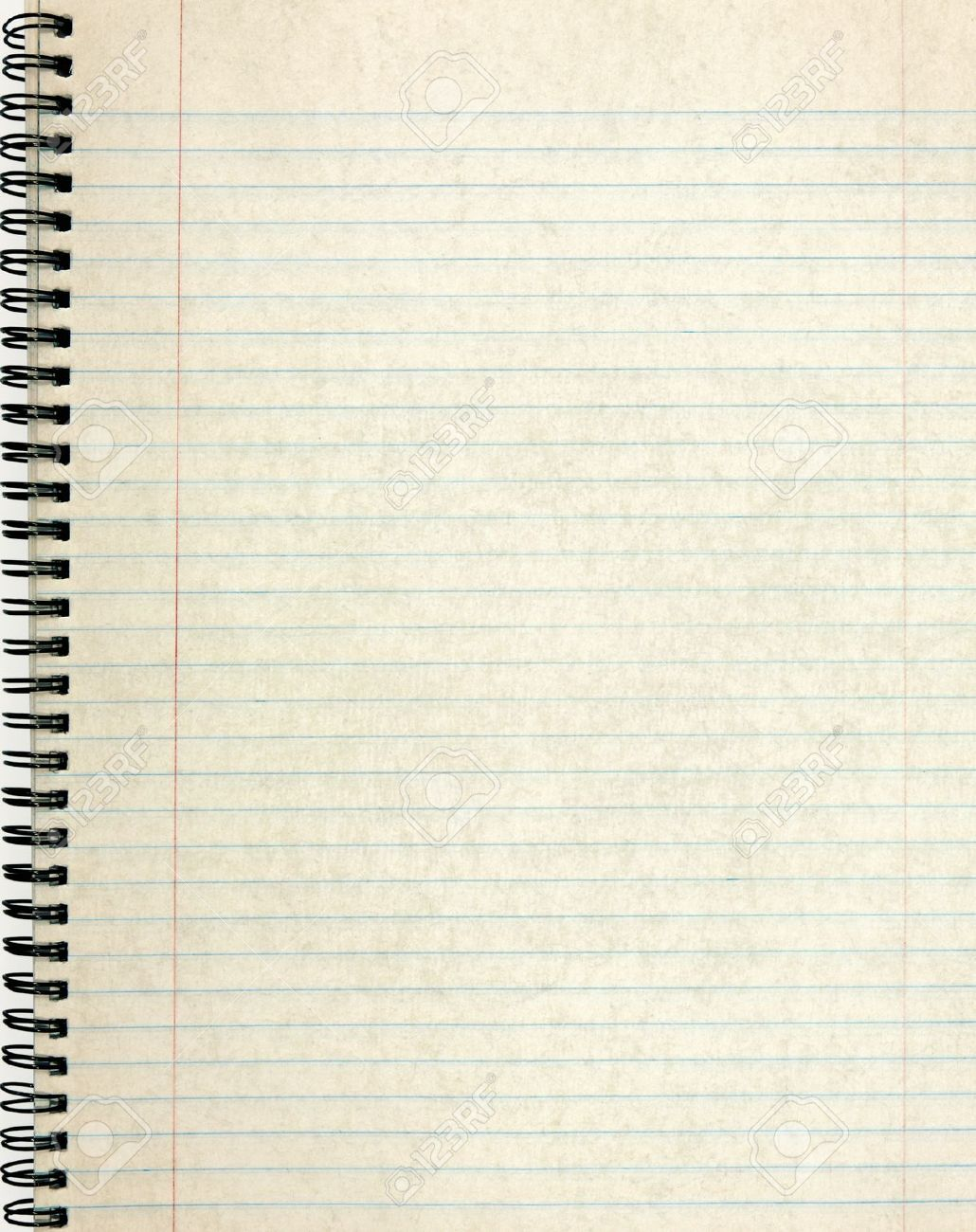 Old Notebook Page Lined Paper Stock Photo
