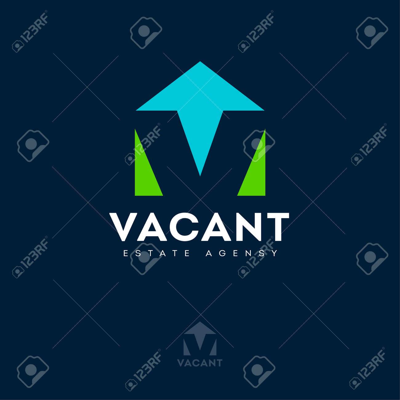 Vacant logo with optical illusion. V letter, monogram like house silhouette. Logo for Estate Agency, Rental Property, Real Estate logo. - 168024377