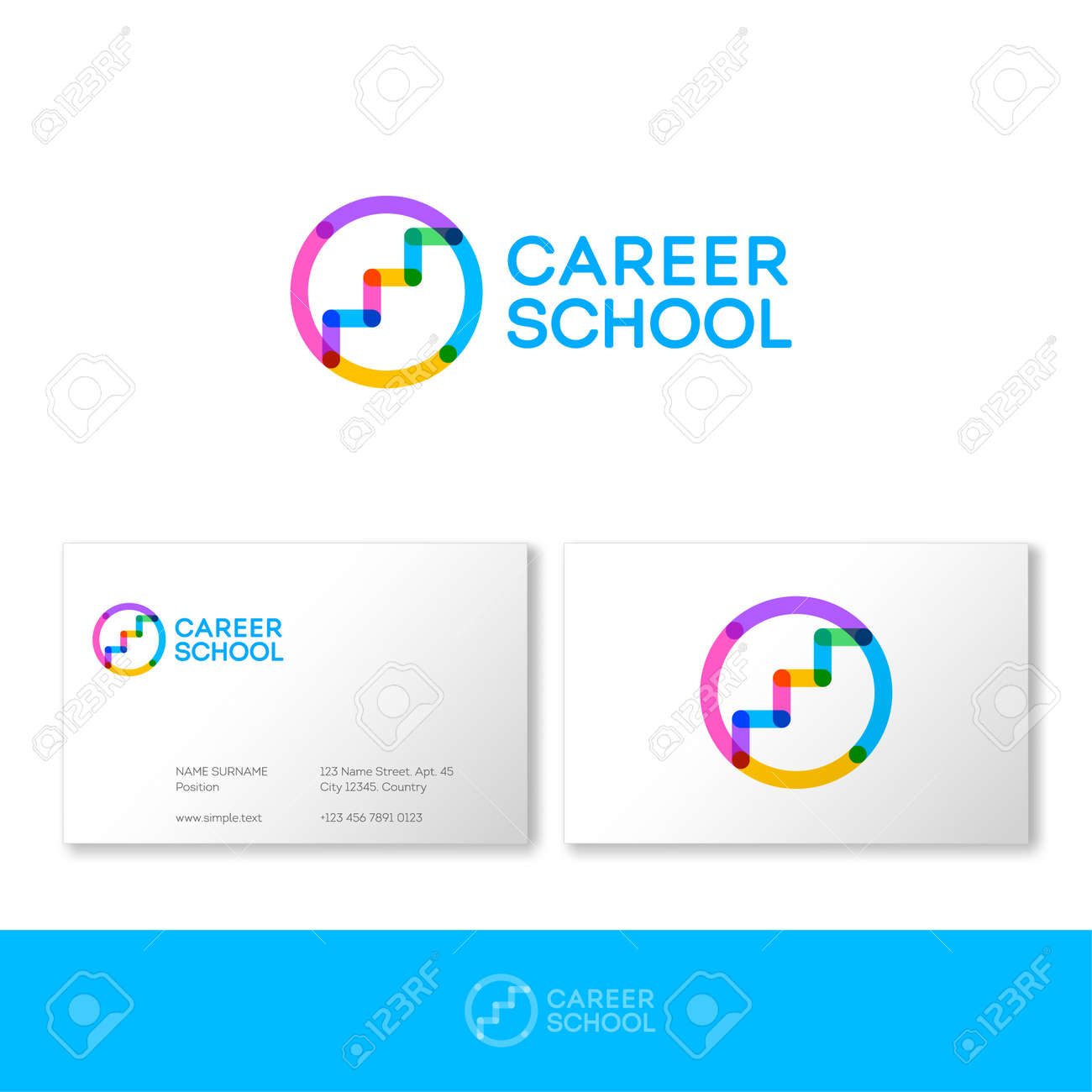 Career school logo.HR logo. Career services logo. Stairs up on circle consist of transparent elements. Human resources management. - 168025200