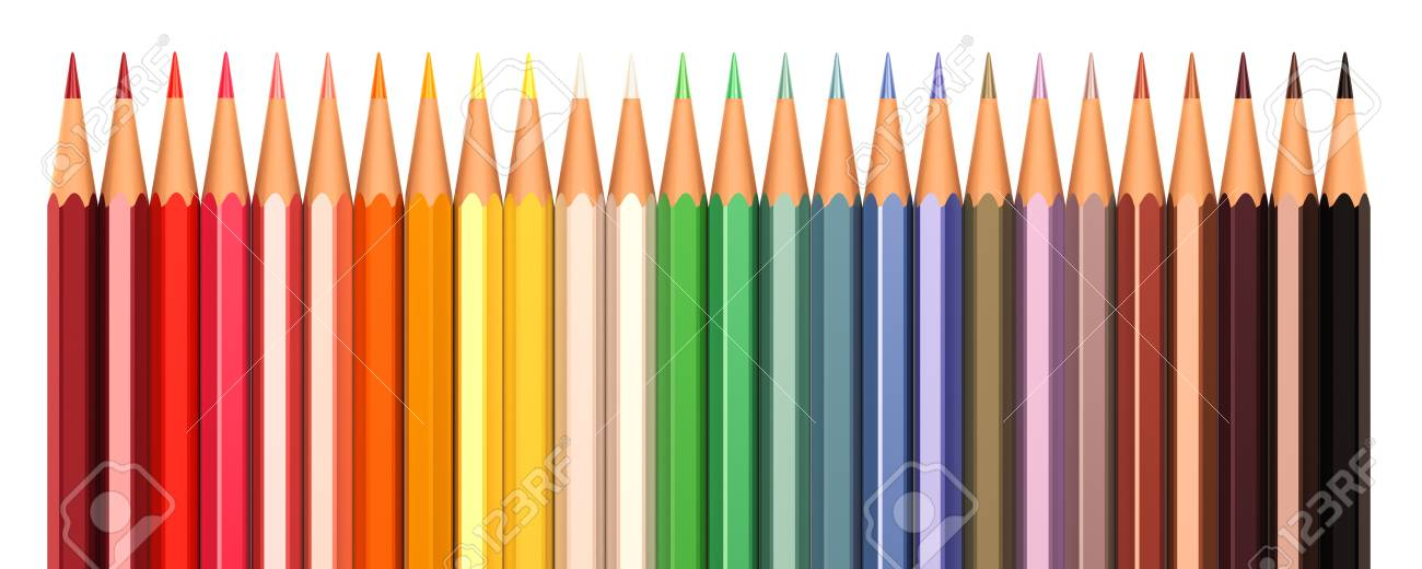 Color pencils in line isolated on a white background - 43633790