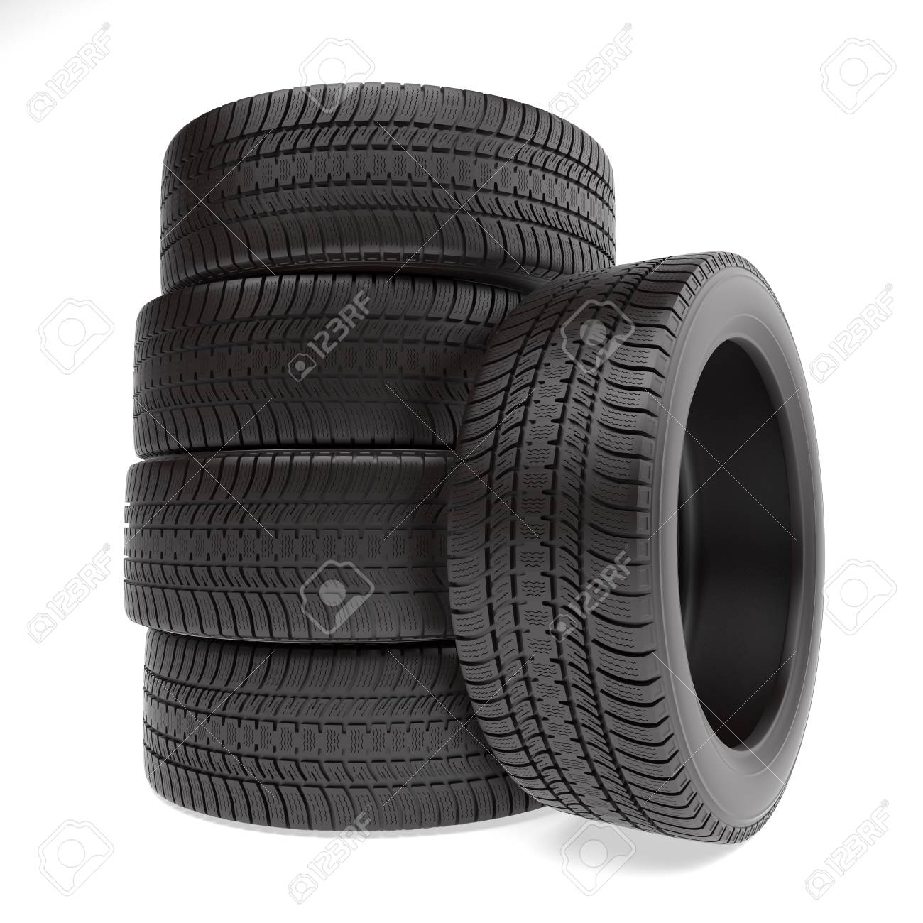 New tires stacked up and isolated on white background - 44929137