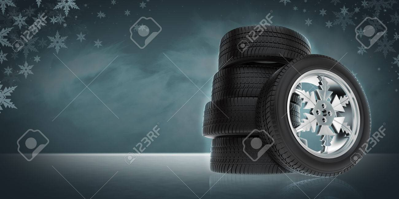 Background with ar winter wheels - 45598654