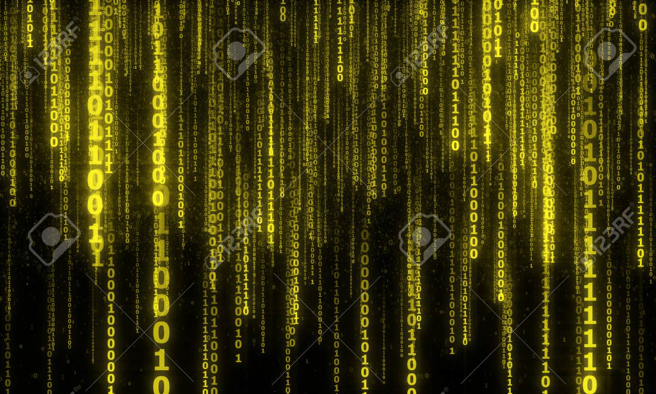 cyberspace with digital falling lines, binary hanging chain, abstract background with yellow digital lines - 52654915