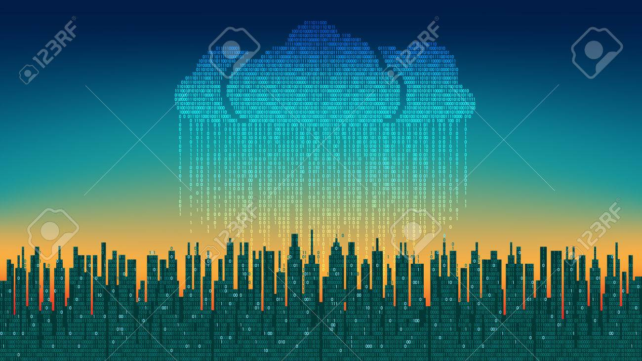 The city online. Abstract futuristic digital city, binary rain, cloud connected, high-tech background - 69261950