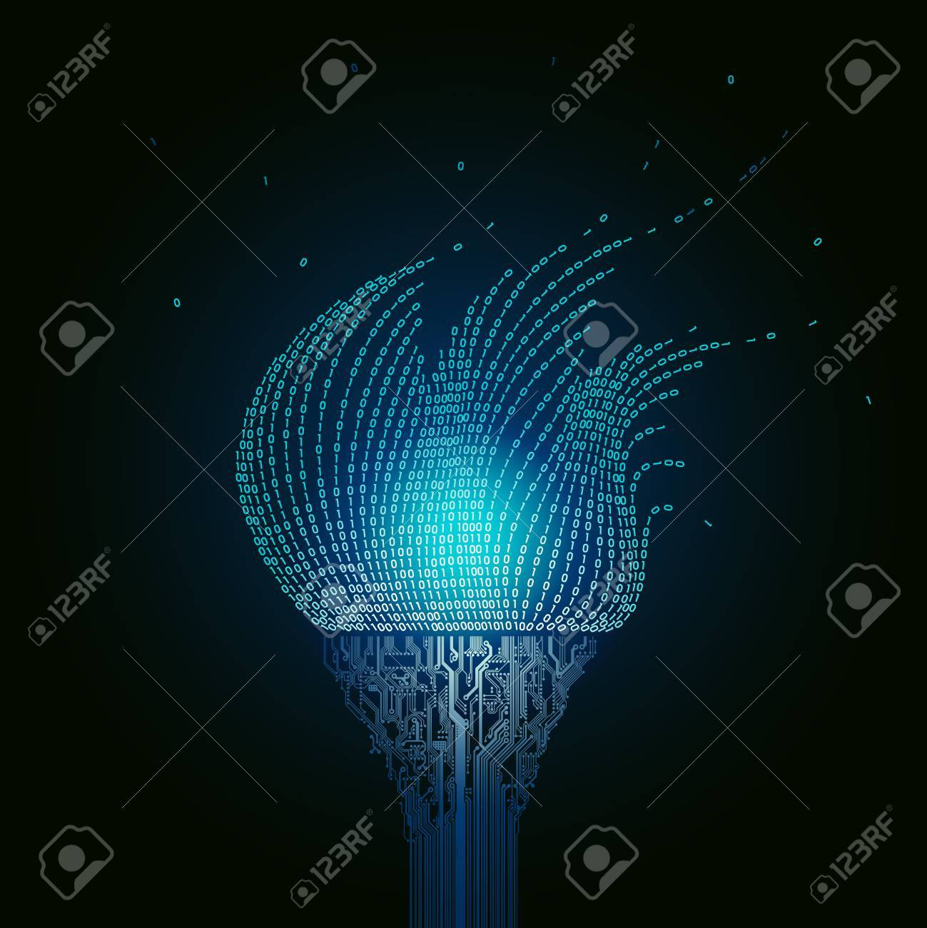 A burning blue torch, consists of printed circuit boards, the flame from the binary code. Artifact from the abstract of cyberspace - 71197070