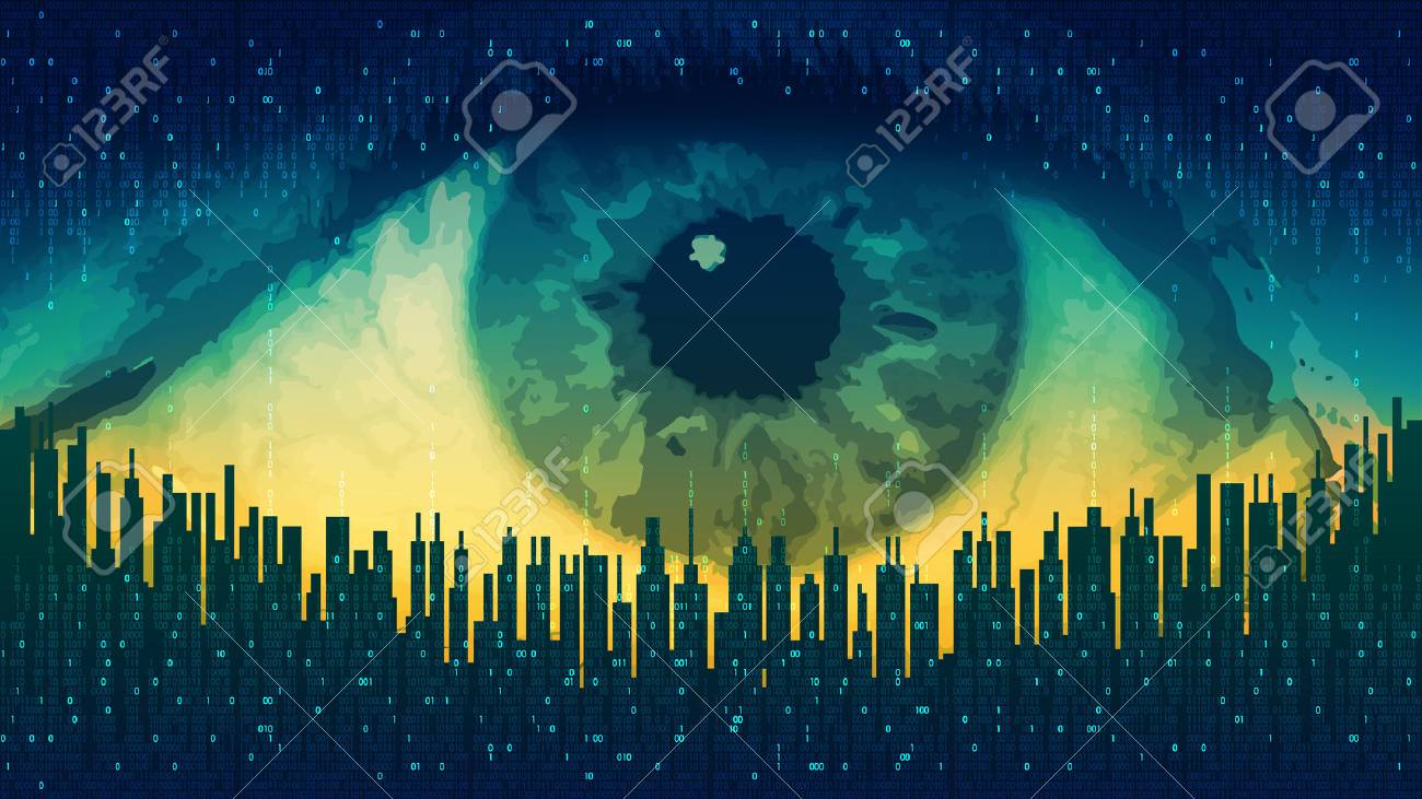 Big brother - concept electronic all-seeing eye, the technology of global surveillance, futuristic computer digital technology - 75143418